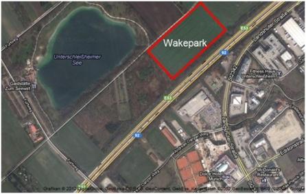 Lage des Wakeparks am Unterschleißheimer See
